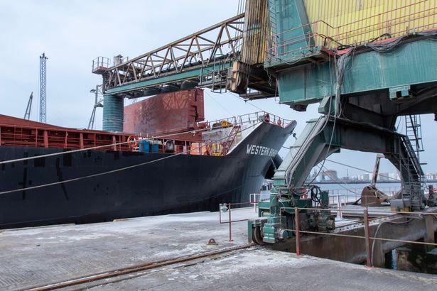 Polyhalite being loaded at Tees Dock