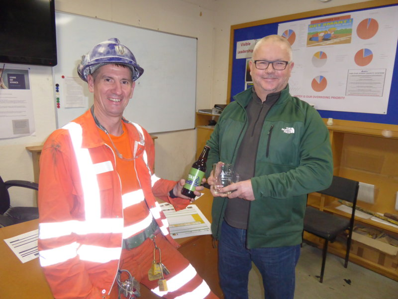 Overseer Adrian Sanderson (left) and Shift Manager Wayne Boyes say 'Cheers' to 2019 and here's to 2020