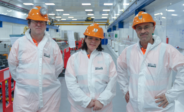 (from left) Prof. Charles Cockell; technician Emma Meehan; Prof. Sean Paling.