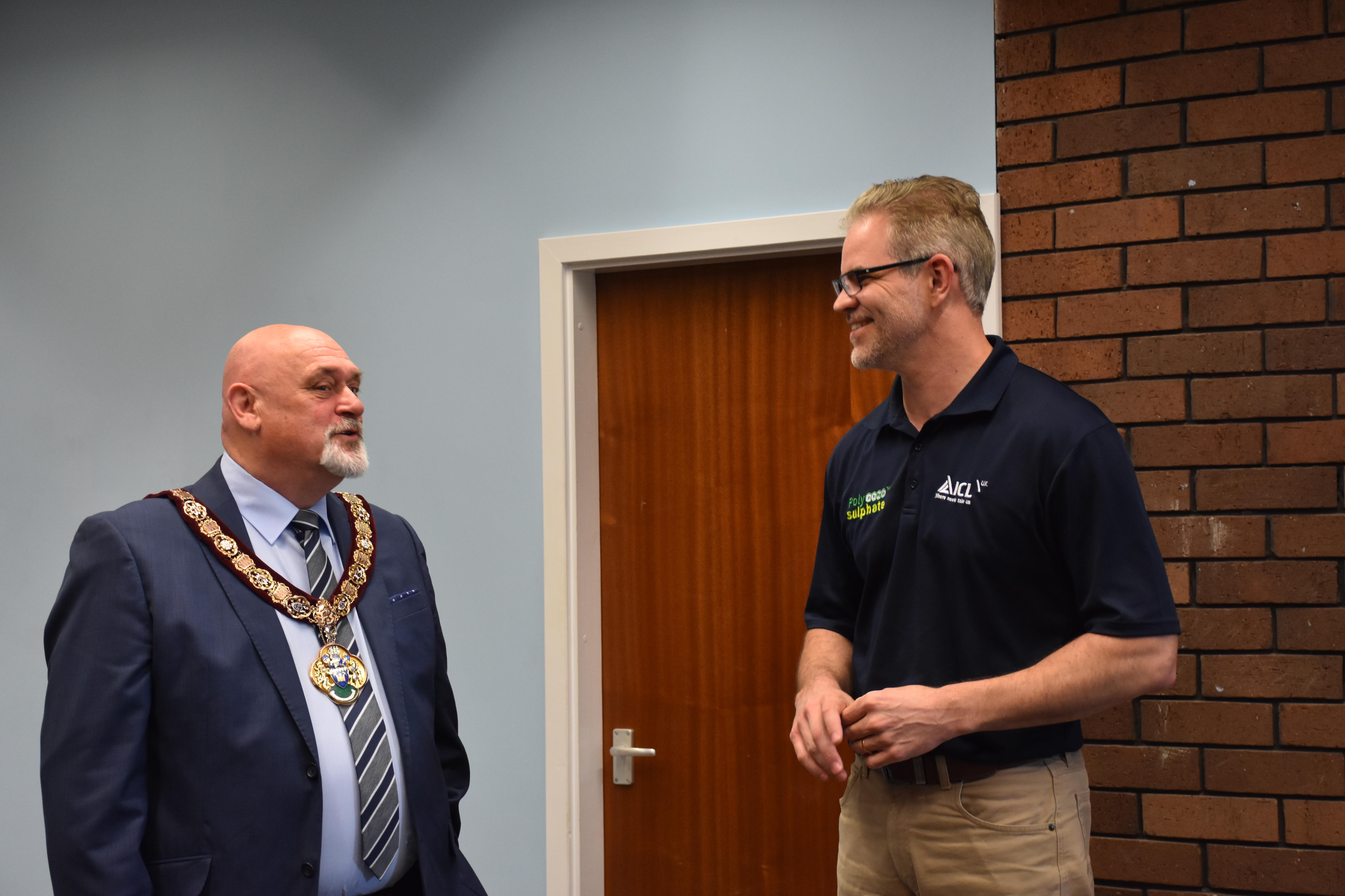 Marc Kirsten greets the Mayor upon arrival