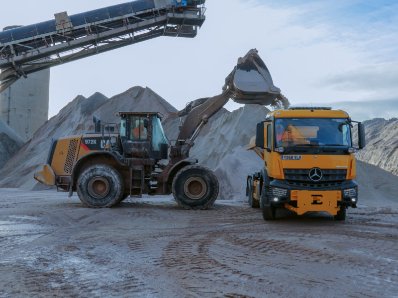 Local authority vehicles loading up salt at ICL Boulby to help keep the country moving