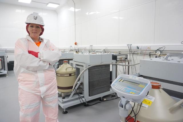 Emma at work in Boulby Underground Laboratory